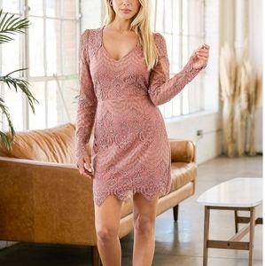 Lulus Made You Look Mauve Lace Cutout Long Sleeve